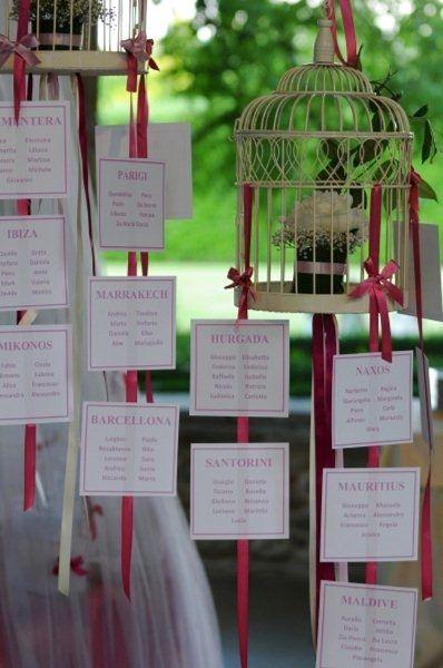 Id e pour le plan de table sans les cages oiseaux un morceau de bois flott a peut tre plus - Nom de table pour mariage sans theme ...
