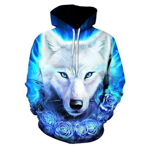 Emlyn Adrian Anime Wolf Hoodies Men Hoody Galaxy Sweatshirt Tracksuit 3D Pullover Coat