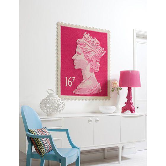 Queen Elisabeth II stamp rug