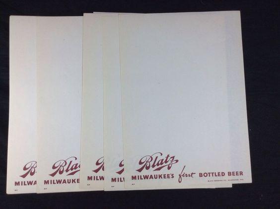 5 Blatz Beer Menu Sheets Milwaukee WI New Old Stock #cjbeez #beer