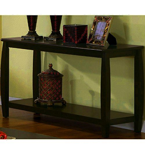 Curved Console Table With Shelf Wooden Modern Cappuccino Dark Brown Narrow Long Rectangular Hall Entryway Sofa T Home Office Furniture Sofa Table Decor Display