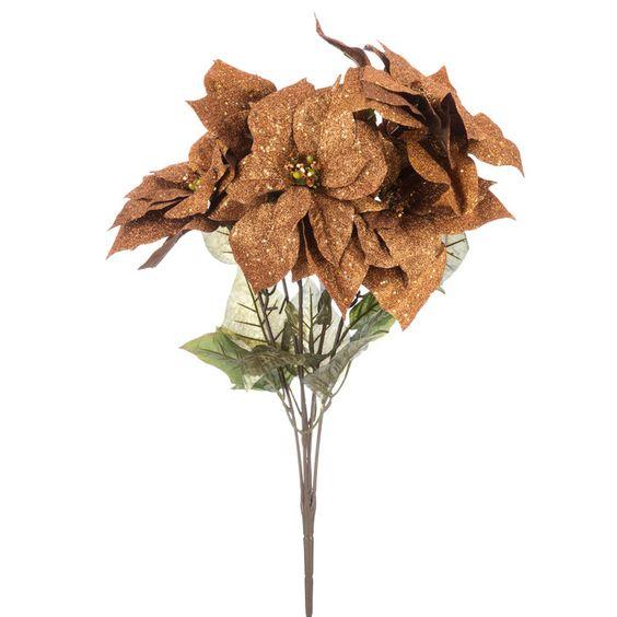 Copper Glitter Poinsettia Bush