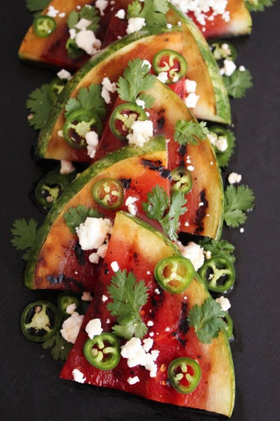 Grilled-Watermelon-with-Jalapeños-Feta-and-Honey: