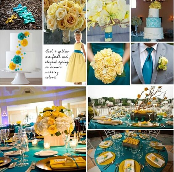 Yellow And Turquoise Wedding Theme
