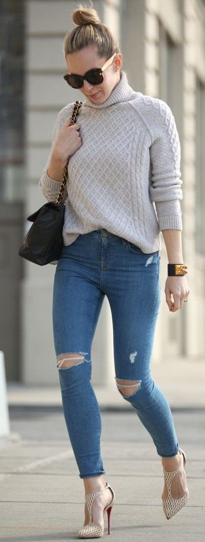 #streetstyle #casualoutfits #spring | Light Grey Sweater + Ripped Denim…
