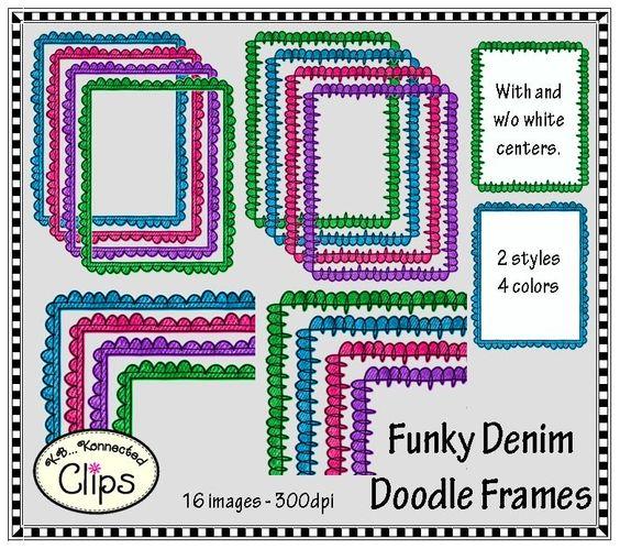 Funky Denim Doodle Frames $ http://www.teacherspayteachers.com/Product/Funky-Denim-Doodle-Frames-Clip-Art-1234415