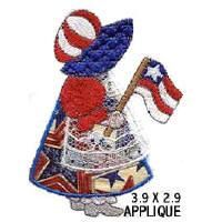 OregonPatchWorks.com - Sets - 4 x 4 Sunbonnet Applique Of The Month: Bells Embroidery, Quilting Apply, Embroidery Shoppe, Red White, White Blue