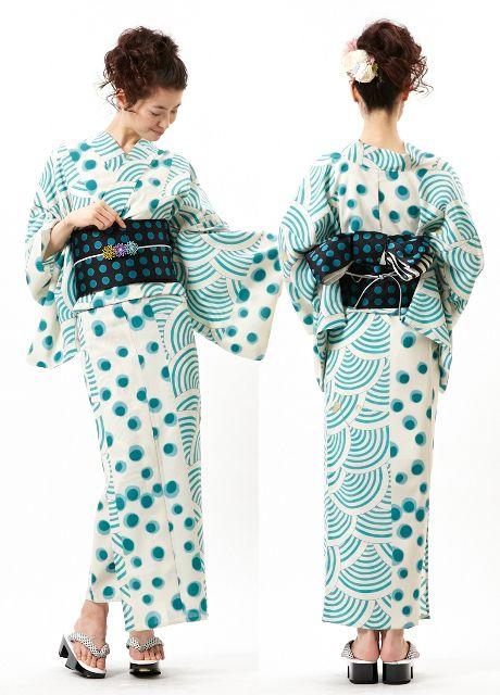 Furifu modern green polka dots pattern kimono | Style ...