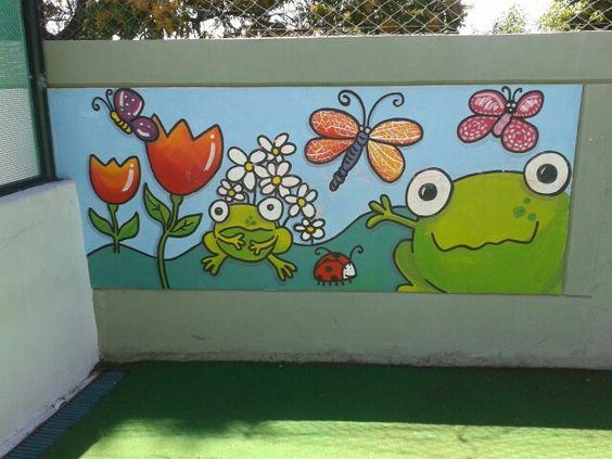 Murales infantiles patio de juegos jardin de infantes for Azul naranja jardin de infantes