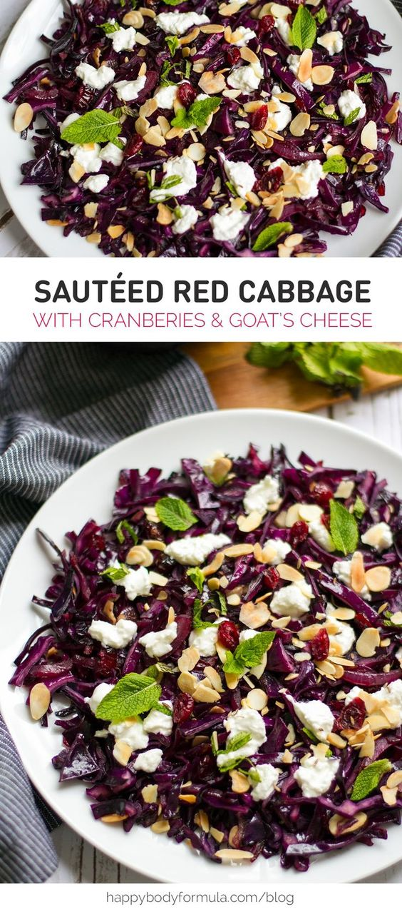 Warm Red Cabbage with Cranberries, Goat's Cheese & Almonds - gluten free, paleo-ish and primal recipe for all to enjoy.