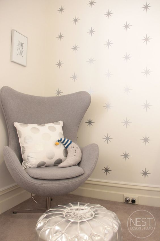 #Nursery Trend: Stars, everywhere! Bonus points if they are metallic like this nursery accent wall.: Nursery Idea, Star Decal, Baby Wall Decal, Room Trend, Nursery Accent Wall, Baby Room Theme, Nursery Star