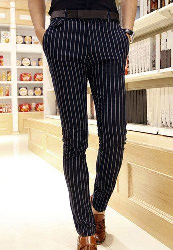 $18.75 Fashion Straight Leg Vertical Stripe Pocket Design Slimming Cotton Blend Pants For Men