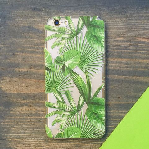 Tropical Palm Leaves - Clear TPU Case Cover