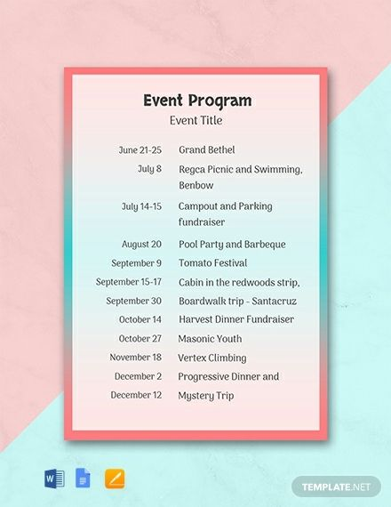Instantly Download Free Event Program Template Sample Example In Microsoft Word Doc Adob Event Program Free Program Templates Printable Program Templates