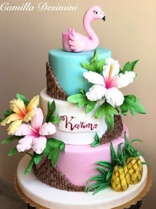 Flamingo cake - cake by La Camilla - CakesDecor