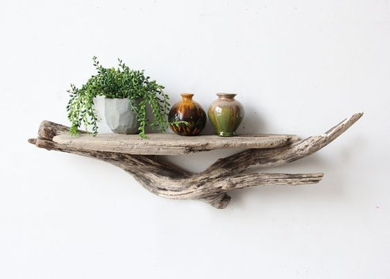 Large Sculptural Natural Driftwood Shelf by OceanSwept on Etsy: