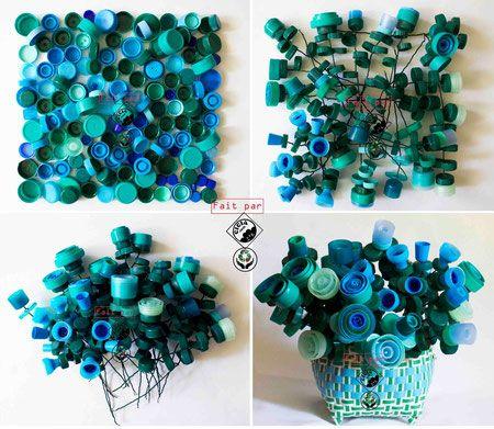 diy recup bouquet de fleurs avec des bouchons en plastique en mode r cup pinterest. Black Bedroom Furniture Sets. Home Design Ideas