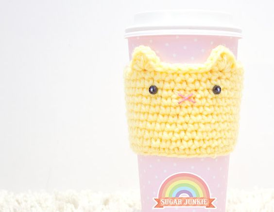 Crochet Cat Coffee Cozy  Yellow by SugarJunkieShop on Etsy, $13.00