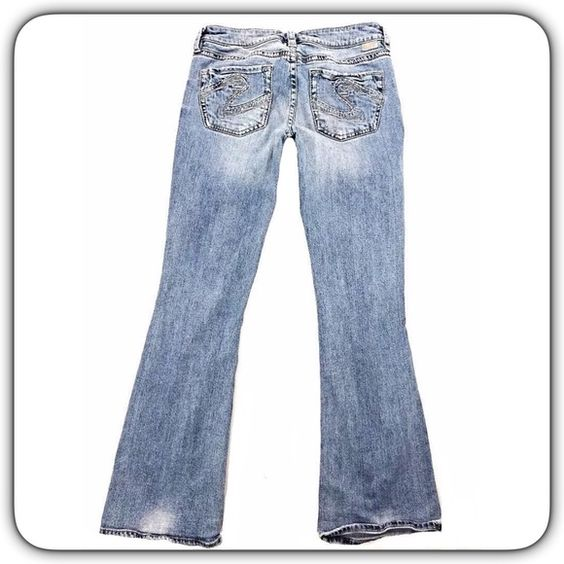 SILVER Jeans SZ 29 Boot Cut Light Blue Distressed Cute pair of ...