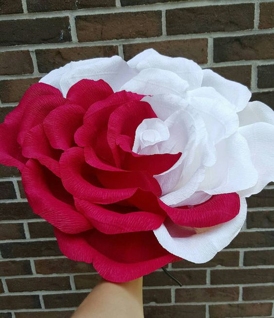Giant crepe paper flower in mix of red and white colors. Oversized rose.  Alice in Wonderland party decor. Bridesmaid flower. Photo prop.
