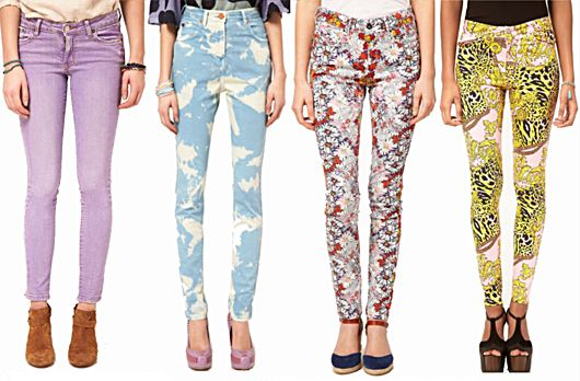 how to wear - the denim trend. floral and pastel skinny jeans, denim dresses and more!