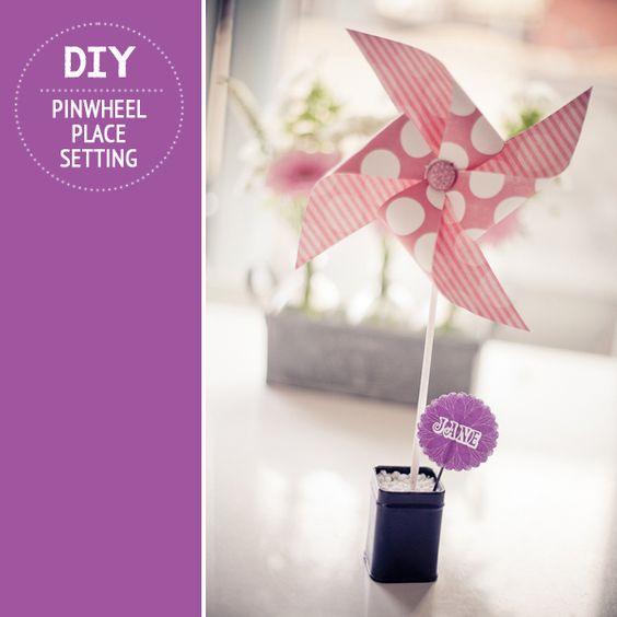 DIY, how-to. Tutorial, Crafts, Pinwheel, Place Setting, Wedding DIY