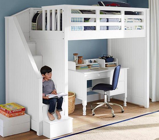 Tempat tidur tingkat sekaligus meja belajar
