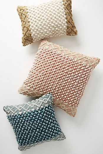 Joanna Gaines for Anthropologie Textured Eva Pillow - add a little texture with these knobby woven pillows. 3 beautiful colors