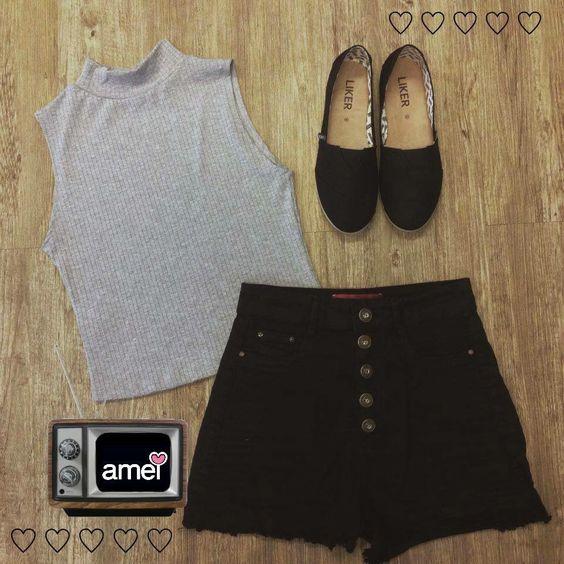 Shorts hot pant❤️ Regata gola alta Alpargata preta ️Novidades na @loja_amei  #lojaamei #muitoamor #novidades #hotpant #alpargata #golaalta