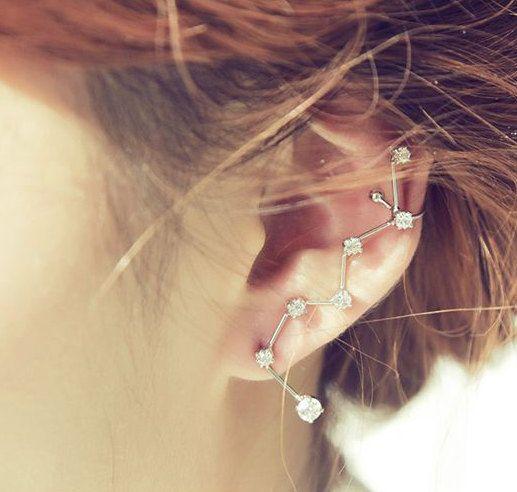 S925 ear stud Big Dipper Ear Cuff. Seven stars extended ear cuff.Sterling Silver Ear stud.Big Dipper Wrap earrings.Rhinestone stars ear cuff