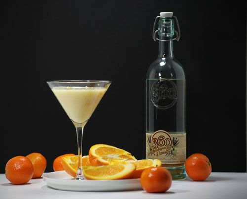 Orange Creamsicle Martini  (2 ounces 360 Madagascar Vanilla Vodka    2 ounces orange juice    1 ounce half and half    Orange to zest for garnish)