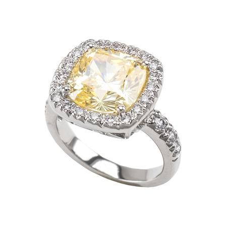 Kenneth Jay Lane Cushion Cubic Zirconia Framed Canary Yellow Ring, Choose Size