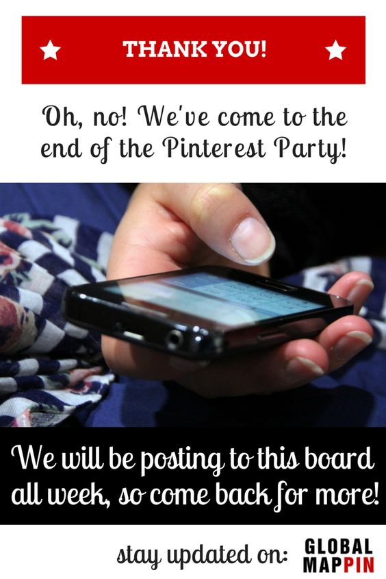 We hope you enjoyed the party! Although we stop live chatting now, we will still be posting plenty of pins to this board until Friday, so please return and keep sharing your most favourite Pins to your own Global Mappin board. We will feature the best board in our next newsletter!! **Submit your Board Here: **