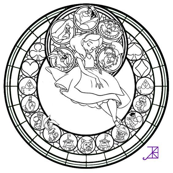 alice stained glass line art by akili amethystd4vrh52
