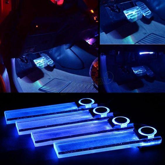 Barato Mais recente quente 4 em 1 12 V Car Auto LED Interior atmosfera luzes da decoração da lâmpada azul frete grátis # EA10433, Compro Qualidade Fonte de Luz - Automóvel diretamente de fornecedores da China: Car-Styling Anti Collision Car Laser Tail Fog Lights Auto Brake Parking Lamps Motorcycle Rear Warning Styling Lights for