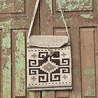 Wool flap bag, 'Zapotec Maze'