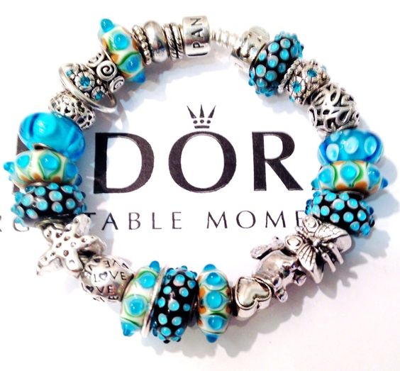 "Authentic Pandora Sterling Silver Bracelet W Charms ""Whimsy Bumpy Blue Tones "" 