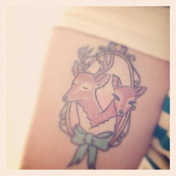 My new tattoo!! A lovely two-headed deer illustrated by Nan Lawson. Heck yes.