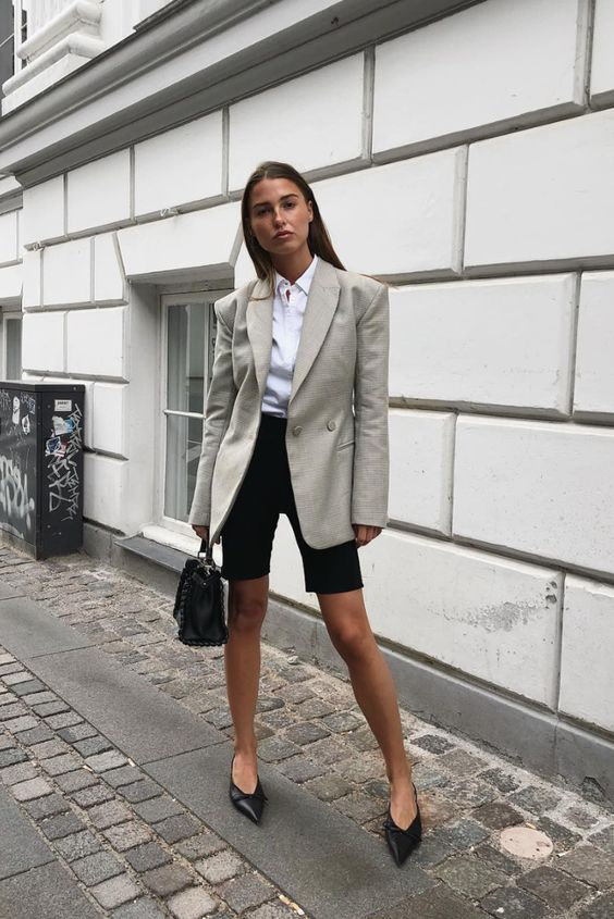 bike shorts outfits button-down shirt blazer