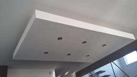 déroché plafond descendu suspendu ilot central decaissement design spots caisson placo platre