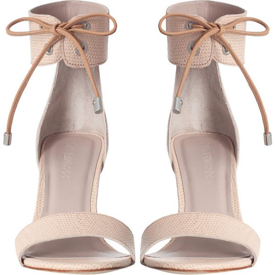 Zimmermann Tie Up Sandal ($410) ❤ liked on Polyvore featuring shoes, sandals, heels, high heels, ankle cuff heel sandals, zimmermann, high heel sandals, tie sandals and leather lined shoes
