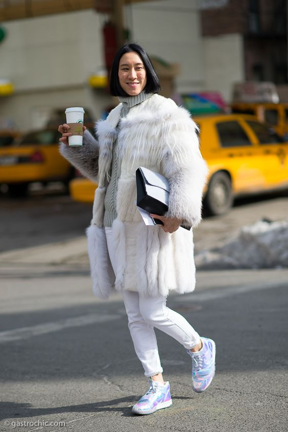 New York women are not afraid to pile on the layers when the mercury drops. Case in point: Eva Chen …