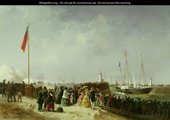 """""""The Departure of the Steam Packet at Boulogne"""" - Louis Bentabole"""