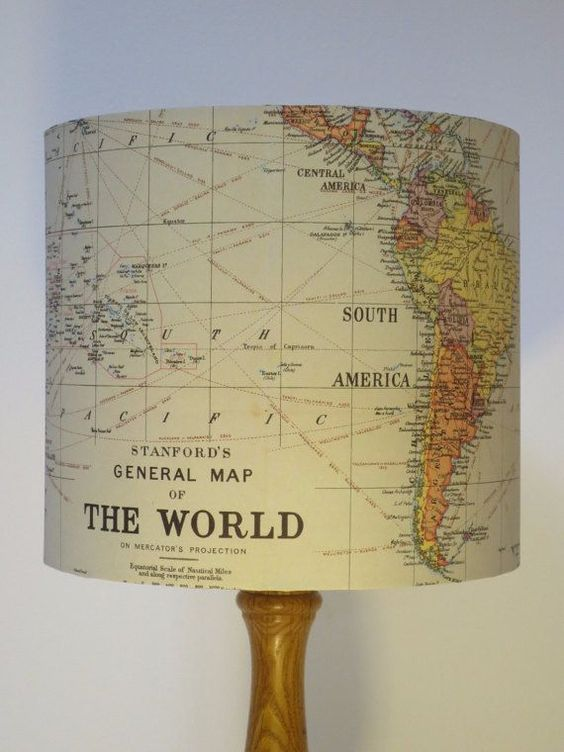 """Light up your life with this vintage map-covered <a href=""""http://go.redirectingat.com?id=74679X1524629"""
