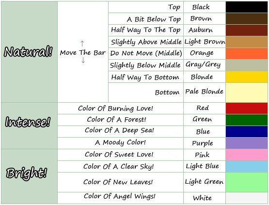 Acnl Hair Color Guide Hair Color Guide Animal Crossing Hair Animal Crossing Hair Guide