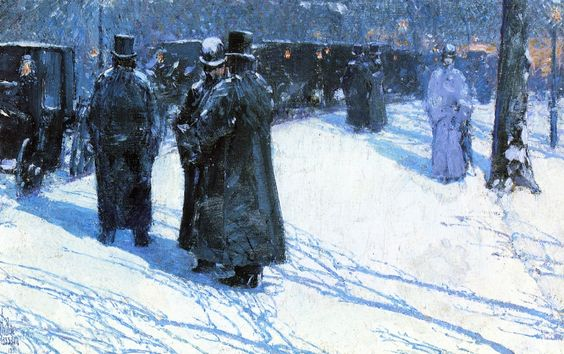 Artist:Childe Hassam Title:Cab Stand at Night, Madison Square, New York