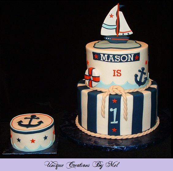 Nautical Theme 1st Birthday Cake With Matching Smash Cake