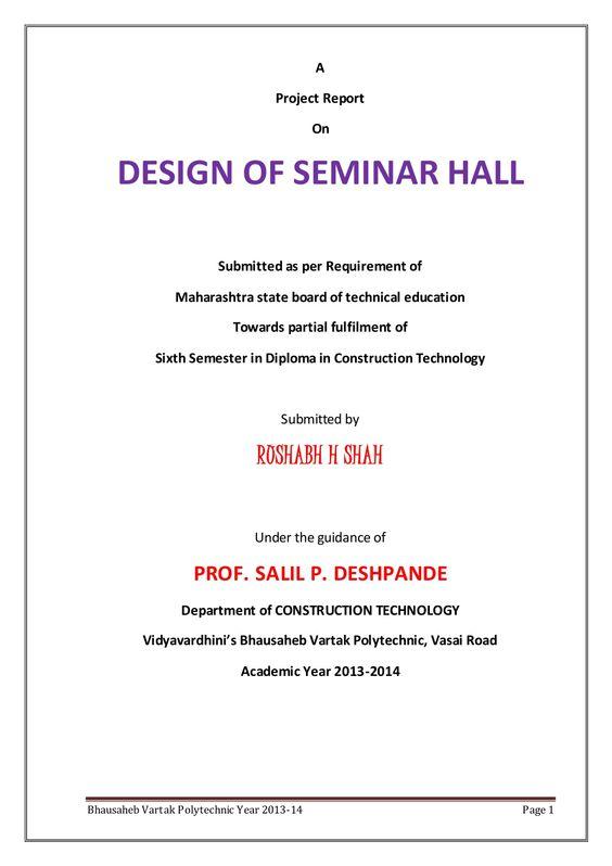 DESIGN OF SEMINAR HALL PROJECT DOCUMENT by rushabh shah via - design document