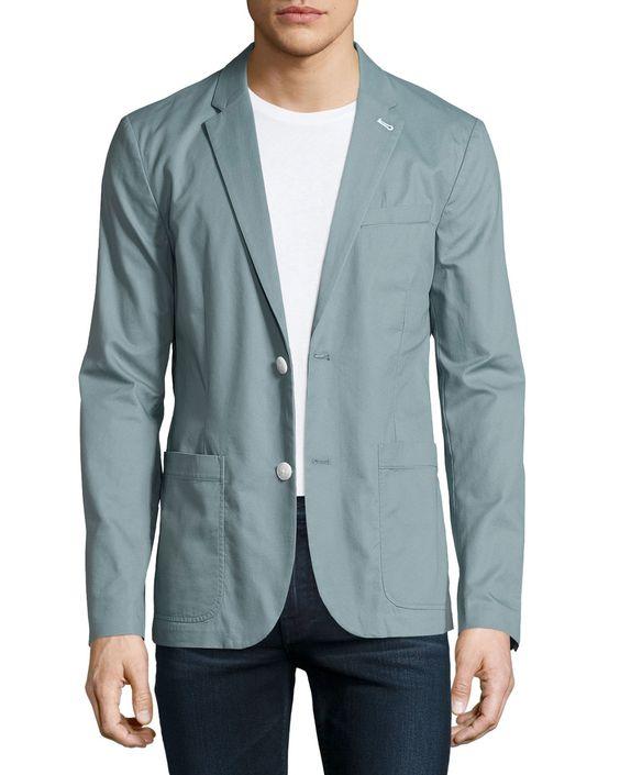 "Home :: Blazers :: Penguin Classic-Fit Patch-Pocket Cotton Blazer, Trooper, Men's, Size: M Penguin Classic-Fit Patch-Pocket Cotton Blazer, Trooper Details Penguin cotton blazer. Notched lapels; two-button front. Long sleeves. Welt pocket at left chest. Front patch pockets. Classic fit. Lining: polyester/cotton. Sleeve lining: polyester. Dry clean. Imported. Model's measurements: Height 6'1""/185cm, waist 30.5""/77.5cm, typically wearsRead more"