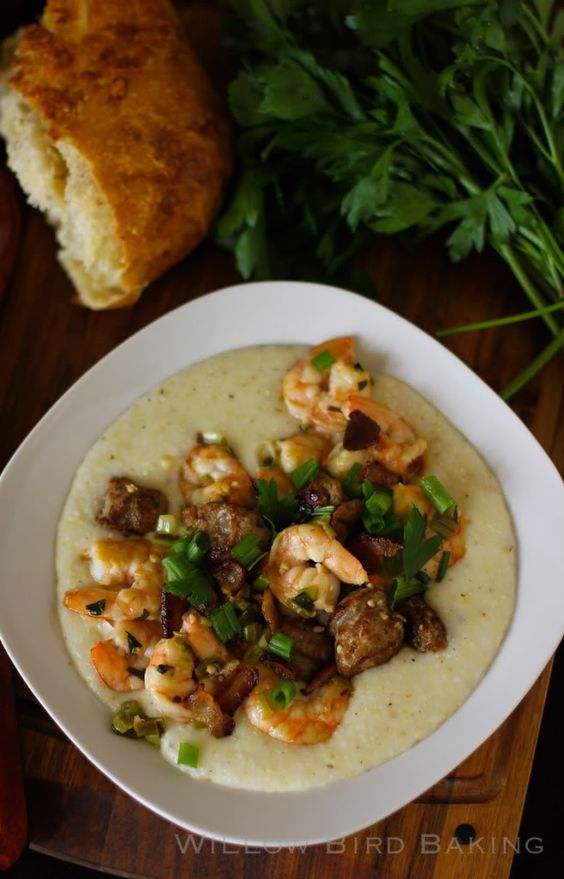 An amazing Shrimp and Grits recipe. The shrimp, Andouille sausage, and ...